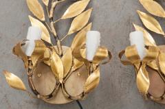 Pair of French Vintage Gilt Brass Laurel Leaf Two Arm Sconces - 833023