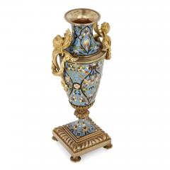 Pair of French champlev enamel and gilt bronze vases - 1451655