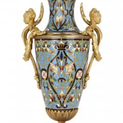 Pair of French champlev enamel and gilt bronze vases - 1451675