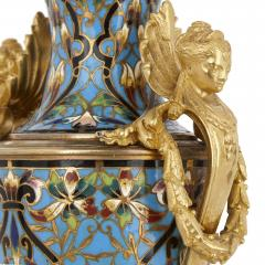 Pair of French champlev enamel and gilt bronze vases - 1451697