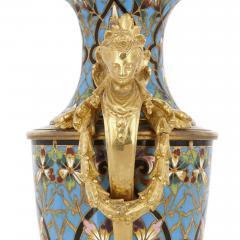 Pair of French champlev enamel and gilt bronze vases - 1451703