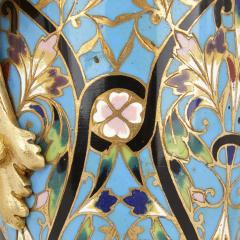 Pair of French champlev enamel and gilt bronze vases - 1451730