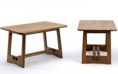 Pair of French fifties oak side table or coffee tables - 1651765