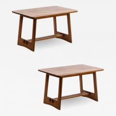 Pair of French fifties oak side table or coffee tables - 1651958