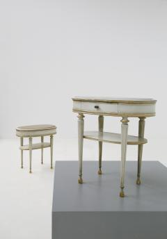 Pair of French style white bedside tables in wood and orange gilt glass 1940s - 1567848