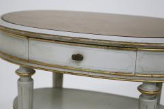 Pair of French style white bedside tables in wood and orange gilt glass 1940s - 1567851