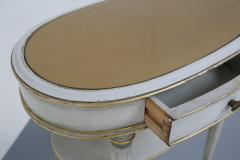 Pair of French style white bedside tables in wood and orange gilt glass 1940s - 1567856
