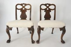 Pair of George II Style Carved Walnut Side Chairs England circa 1880 - 788779