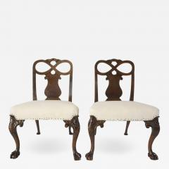 Pair of George II Style Carved Walnut Side Chairs England circa 1880 - 790933