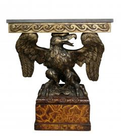 Pair of George II Style Giltwood and Grey Marble Eagle Console Tables - 1521724