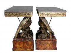 Pair of George II Style Giltwood and Grey Marble Eagle Console Tables - 1521785