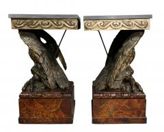 Pair of George II Style Giltwood and Grey Marble Eagle Console Tables - 1521801