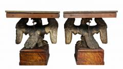 Pair of George II Style Giltwood and Grey Marble Eagle Console Tables - 1521807