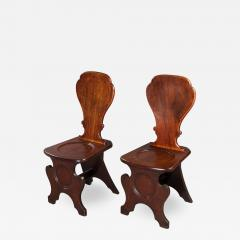 Pair of George III Mahogany Hall Chairs - 994919
