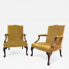 Pair of George III Mahogany Library Armchairs - 256289