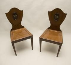 Pair of Georgian Mahogany Hall Chairs - 85779