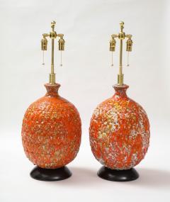 Pair of Giant Italian Volcanic Glazed Ceramic lamps  - 1995946