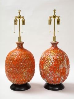 Pair of Giant Italian Volcanic Glazed Ceramic lamps  - 1995947