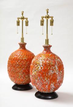Pair of Giant Italian Volcanic Glazed Ceramic lamps  - 1995948