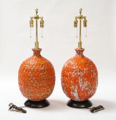 Pair of Giant Italian Volcanic Glazed Ceramic lamps  - 1995949