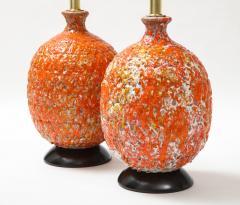 Pair of Giant Italian Volcanic Glazed Ceramic lamps  - 1995950