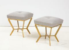 Pair of Gilded Gold Leaf Iron Stools with Tufted Grey Boucle Italy 2021 - 1998664