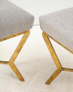 Pair of Gilded Gold Leaf Iron Stools with Tufted Grey Boucle Italy 2021 - 1998665