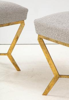 Pair of Gilded Gold Leaf Iron Stools with Tufted Grey Boucle Italy 2021 - 1998666
