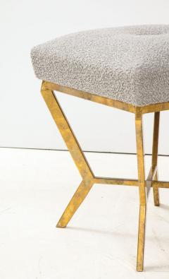 Pair of Gilded Gold Leaf Iron Stools with Tufted Grey Boucle Italy 2021 - 1998667