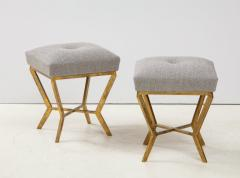 Pair of Gilded Gold Leaf Iron Stools with Tufted Grey Boucle Italy 2021 - 1998669