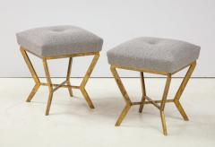 Pair of Gilded Gold Leaf Iron Stools with Tufted Grey Boucle Italy 2021 - 1998670