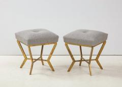Pair of Gilded Gold Leaf Iron Stools with Tufted Grey Boucle Italy 2021 - 1998671