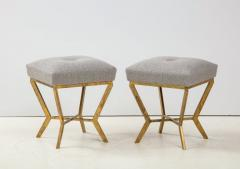 Pair of Gilded Gold Leaf Iron Stools with Tufted Grey Boucle Italy 2021 - 1998672