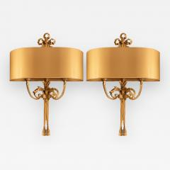 Pair of Gilt Bronze Sconces by Maison Charles - 1288322