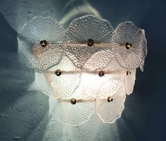 Pair of Glass and Polish Brass Sconces 1980s - 2066890