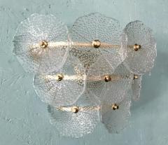 Pair of Glass and Polish Brass Sconces 1980s - 2066891