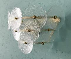 Pair of Glass and Polish Brass Sconces 1980s - 2066892