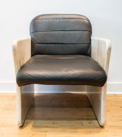 Pair of Goatskin Parchment and grey leather Mid Century Chairs - 1038637