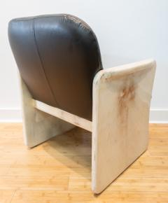 Pair of Goatskin Parchment and grey leather Mid Century Chairs - 1038639
