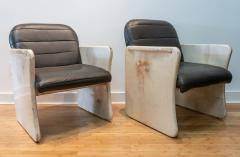 Pair of Goatskin Parchment and grey leather Mid Century Chairs - 1038641