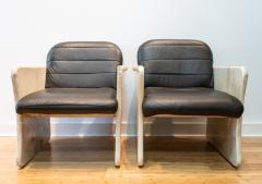 Pair of Goatskin Parchment and grey leather Mid Century Chairs - 1038642