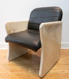 Pair of Goatskin Parchment and grey leather Mid Century Chairs - 1038644