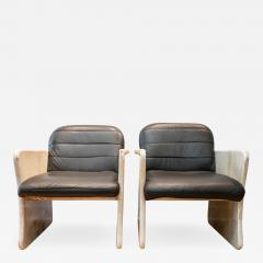 Pair of Goatskin Parchment and grey leather Mid Century Chairs - 1039686