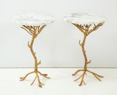 Pair of Gold Branch Side Tables with Marble Top - 855431