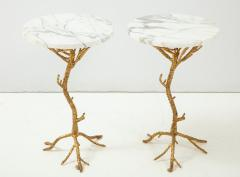 Pair of Gold Branch Side Tables with Marble Top - 855434