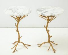Pair of Gold Branch Side Tables with Marble Top - 855441