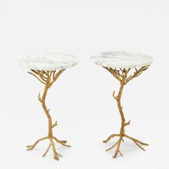 Pair of Gold Branch Side Tables with Marble Top - 862287
