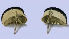 Pair of Gold Diamond Onyx Leaf Earrings - 1263587