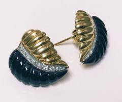 Pair of Gold Diamond Onyx Leaf Earrings - 1263588