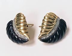 Pair of Gold Diamond Onyx Leaf Earrings - 1263589